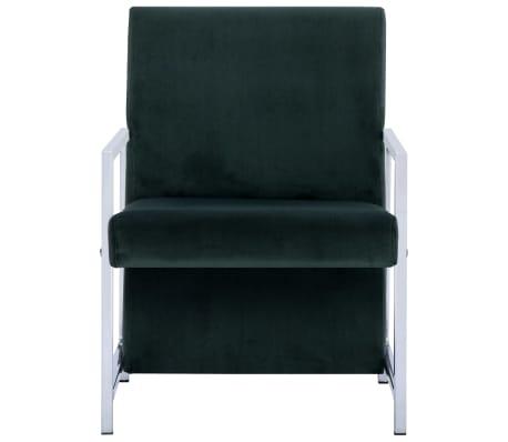 vidaXL Fauteuil met chromen poten fluweel donkergroen[3/8]