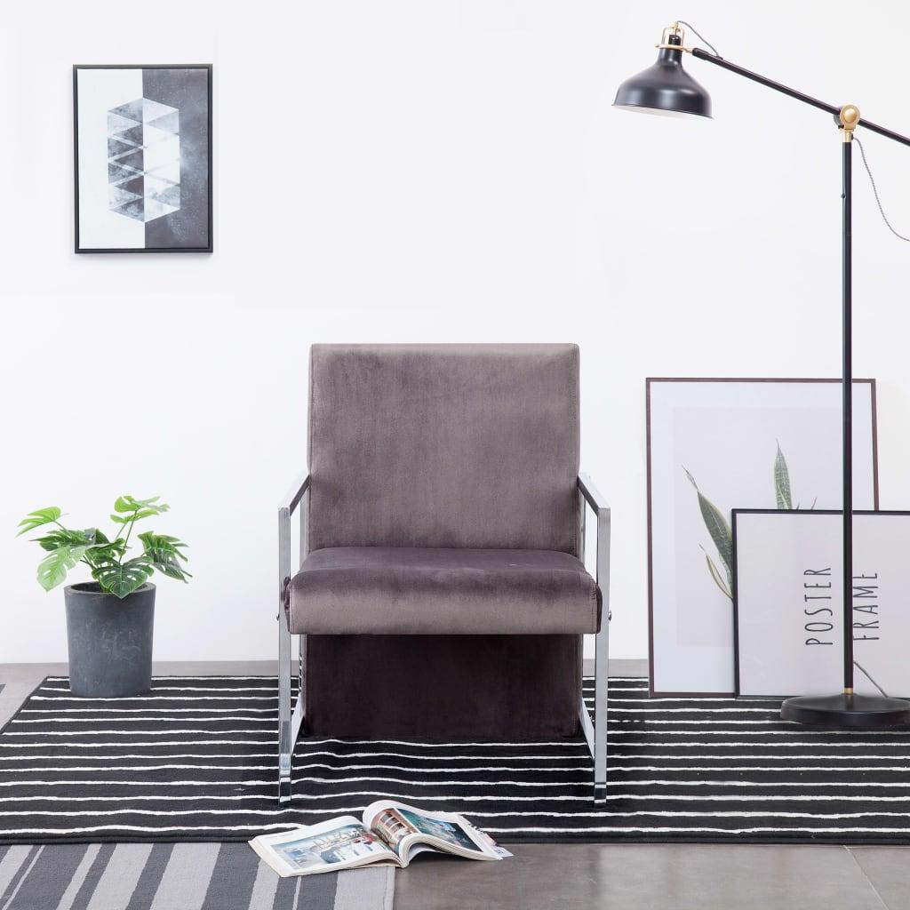 vidaXL Fotel z chromowanym nóżkami, ciemnoszary, aksamit