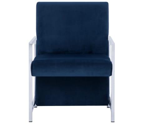 vidaXL Fauteuil met chromen poten fluweel blauw[3/8]