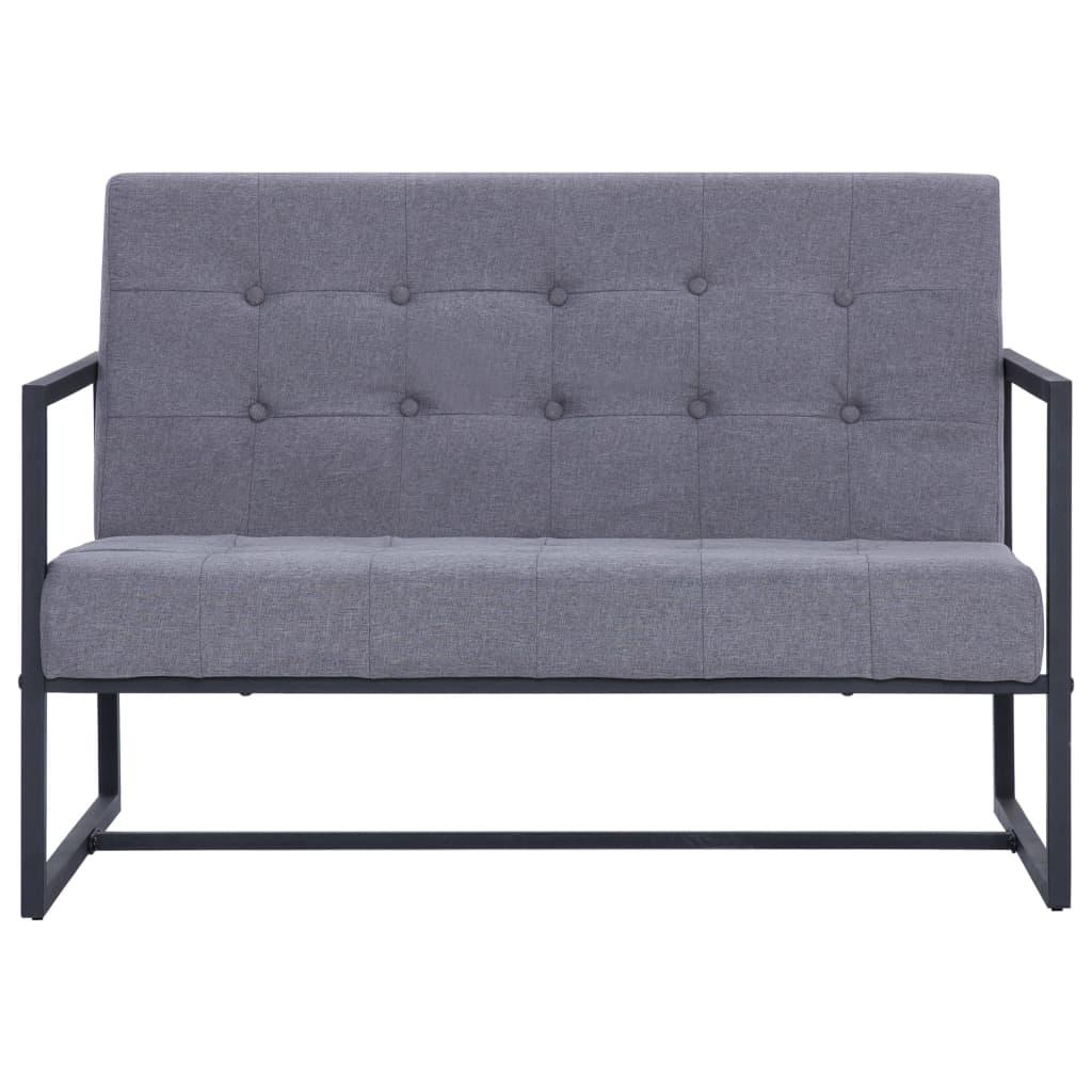 vidaXL Tweezitsbank met armleuningen staal en stof lichtgrijs