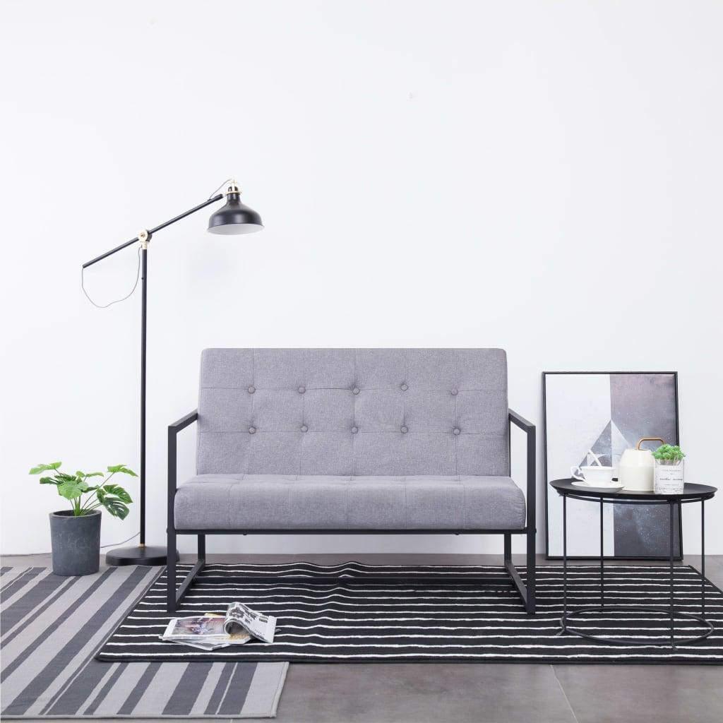 vidaXL 2-osobowa sofa z podłokietnikami, jasnoszara, stal i tkanina