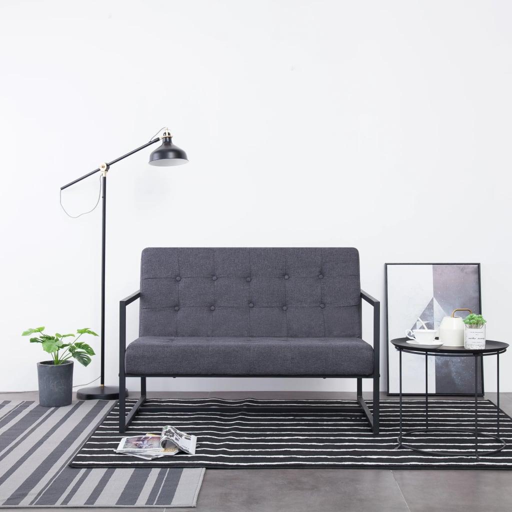 vidaXL 2-osobowa sofa z podłokietnikami, ciemnoszara, stal i tkanina