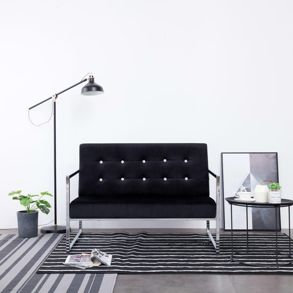 vidaXL 2-osobowa sofa z podłokietnikami, czarna, chrom i aksamit