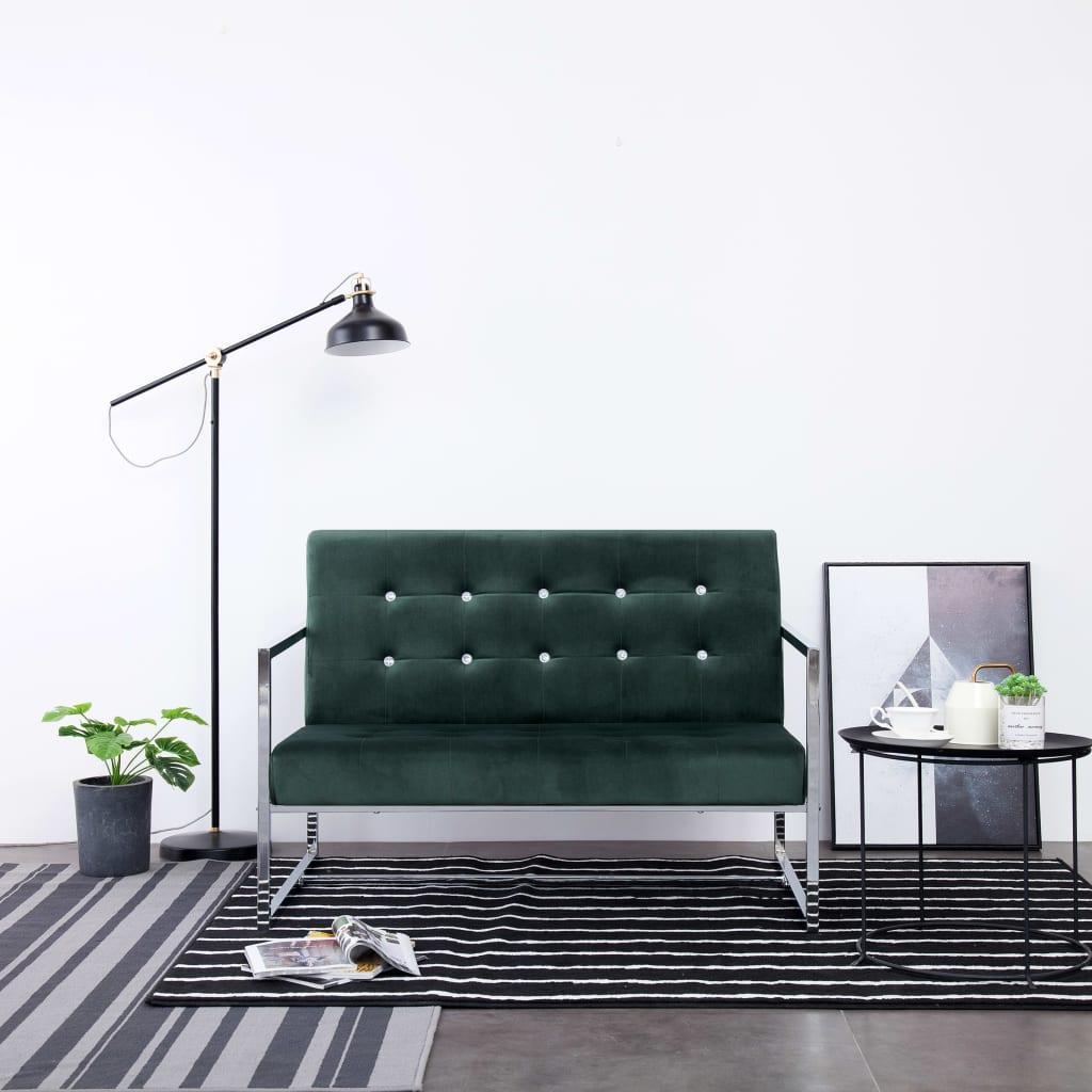 vidaXL 2-Sitzer-Sofa mit Armlehnen Dunkelgrün Chrom und Samt
