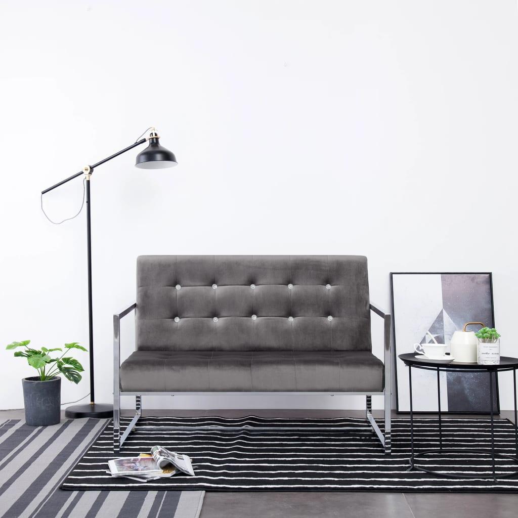 vidaXL 2-osobowa sofa z podłokietnikami, ciemnoszara, chrom i aksamit