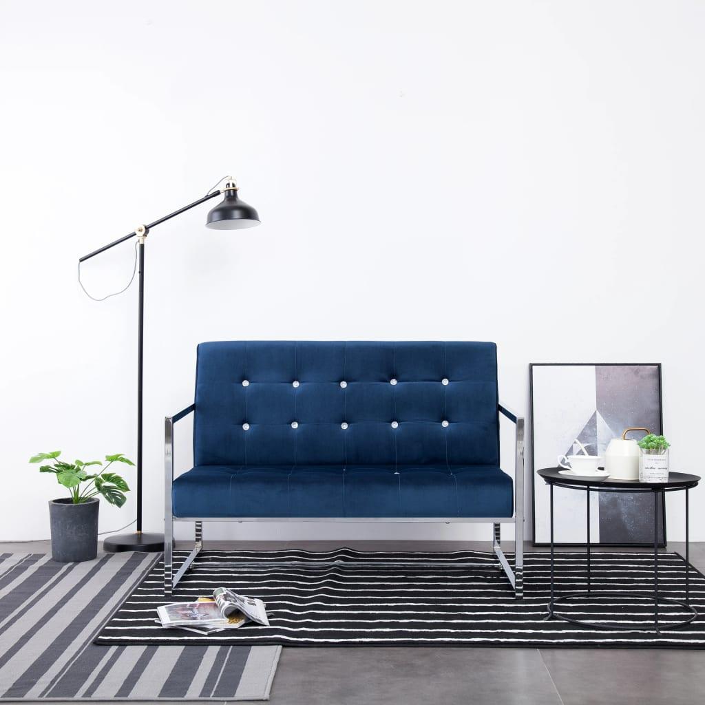 vidaXL 2-osobowa sofa z podłokietnikami, niebieska, chrom i aksamit
