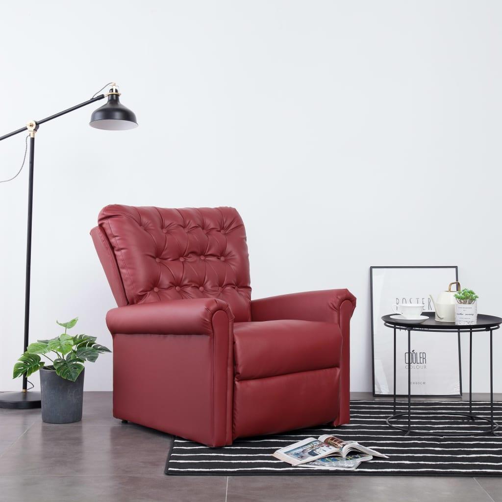 vidaXL Chaise inclinable Rouge bordeaux Similicuir