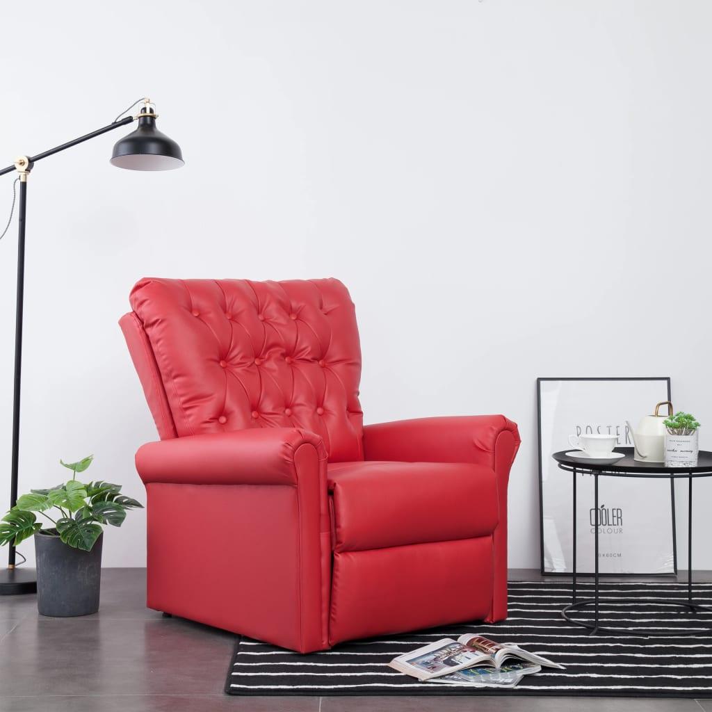 vidaXL Fotoliu rabatabil, roșu, piele ecologică imagine vidaxl.ro