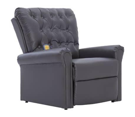 vidaXL Atlošiamas masažinis krėslas, pilkos spalvos, dirbtinė oda