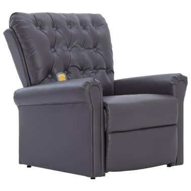 vidaXL Atlošiamas masažinis krėslas, pilkos spalvos, dirbtinė oda[2/14]