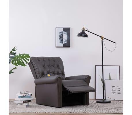 vidaXL Atlošiamas masažinis krėslas, pilkos spalvos, dirbtinė oda[3/14]