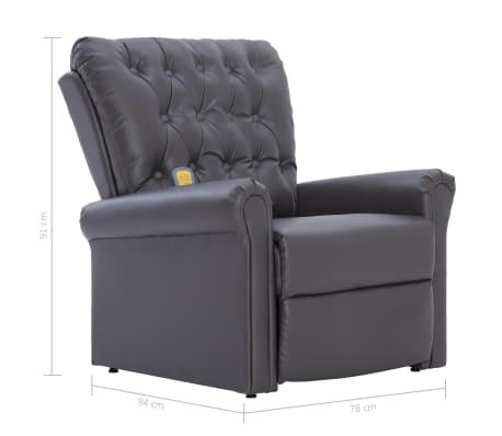 vidaXL Atlošiamas masažinis krėslas, pilkos spalvos, dirbtinė oda[13/14]