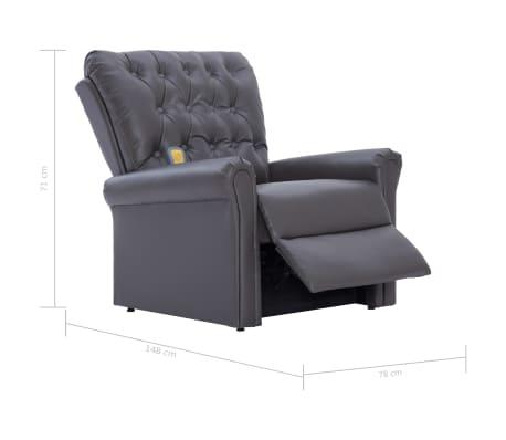 vidaXL Atlošiamas masažinis krėslas, pilkos spalvos, dirbtinė oda[14/14]