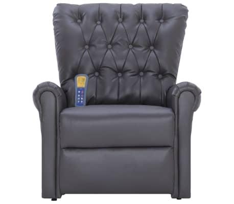 vidaXL Atlošiamas masažinis krėslas, pilkos spalvos, dirbtinė oda[4/14]