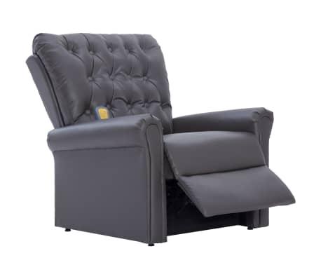vidaXL Atlošiamas masažinis krėslas, pilkos spalvos, dirbtinė oda[6/14]