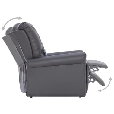 vidaXL Atlošiamas masažinis krėslas, pilkos spalvos, dirbtinė oda[7/14]