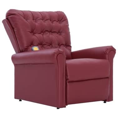 vidaXL Atlošiamas masažinis krėslas, tamsiai raudonas, dirbt. oda[2/14]