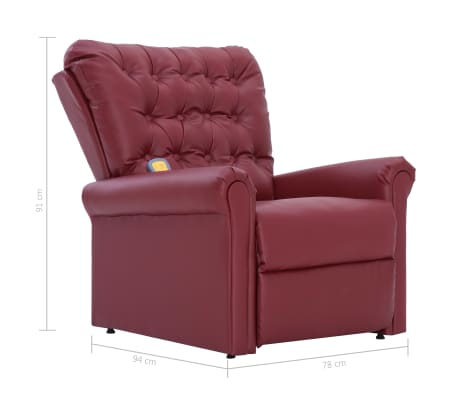 vidaXL Atlošiamas masažinis krėslas, tamsiai raudonas, dirbt. oda[13/14]