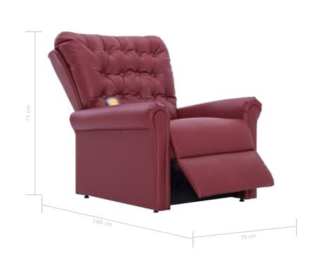vidaXL Atlošiamas masažinis krėslas, tamsiai raudonas, dirbt. oda[14/14]