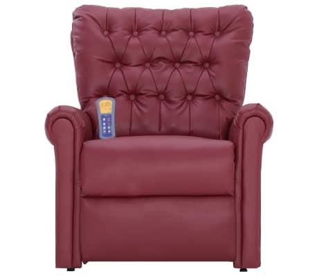 vidaXL Atlošiamas masažinis krėslas, tamsiai raudonas, dirbt. oda[4/14]