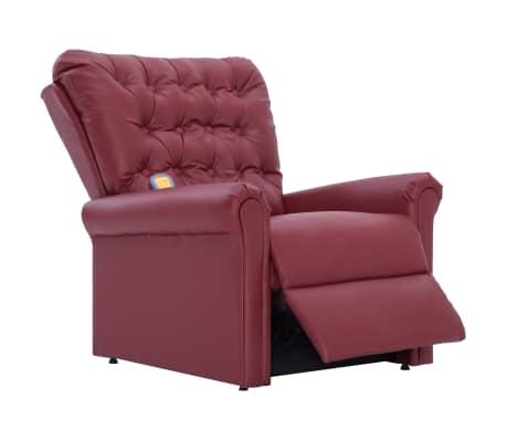 vidaXL Atlošiamas masažinis krėslas, tamsiai raudonas, dirbt. oda[6/14]