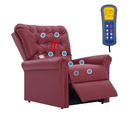vidaXL Atlošiamas masažinis krėslas, tamsiai raudonas, dirbt. oda[11/14]