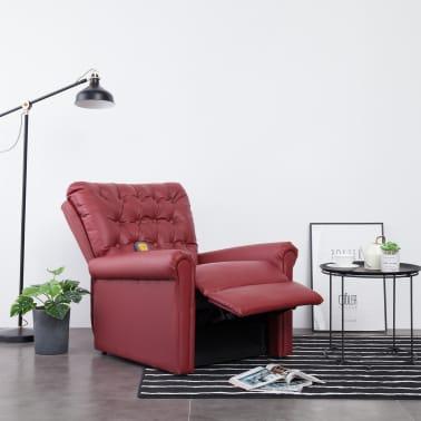 vidaXL Atlošiamas masažinis krėslas, tamsiai raudonas, dirbt. oda[3/14]