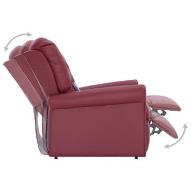 vidaXL Atlošiamas masažinis krėslas, tamsiai raudonas, dirbt. oda[7/14]