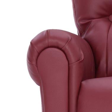vidaXL Atlošiamas masažinis krėslas, tamsiai raudonas, dirbt. oda[8/14]