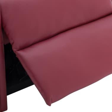 vidaXL Atlošiamas masažinis krėslas, tamsiai raudonas, dirbt. oda[9/14]