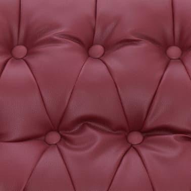 vidaXL Atlošiamas masažinis krėslas, tamsiai raudonas, dirbt. oda[10/14]