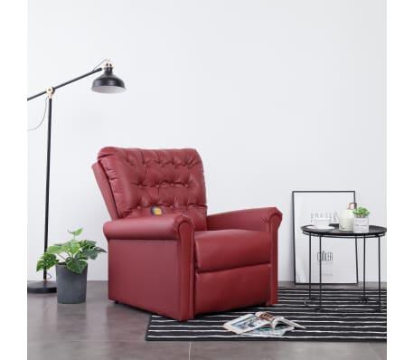 vidaXL Atlošiamas masažinis krėslas, tamsiai raudonas, dirbt. oda[1/14]