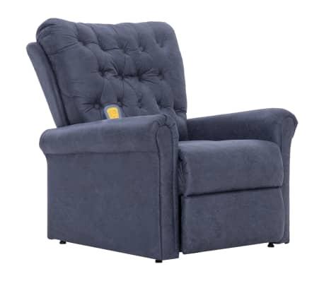 vidaXL Atlošiamas masaž. krėslas, pilkas, dirbt. versta oda
