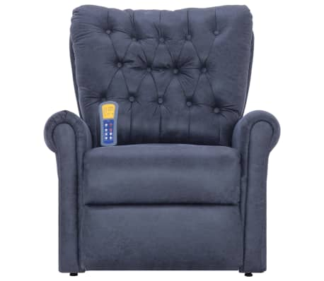 vidaXL Atlošiamas masaž. krėslas, pilkas, dirbt. versta oda[4/14]