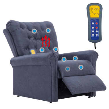 vidaXL Atlošiamas masaž. krėslas, pilkas, dirbt. versta oda[11/14]