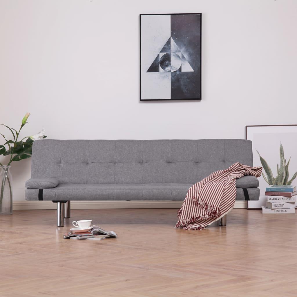 Rozkládací pohovka se 2 polštáři světle šedá polyester