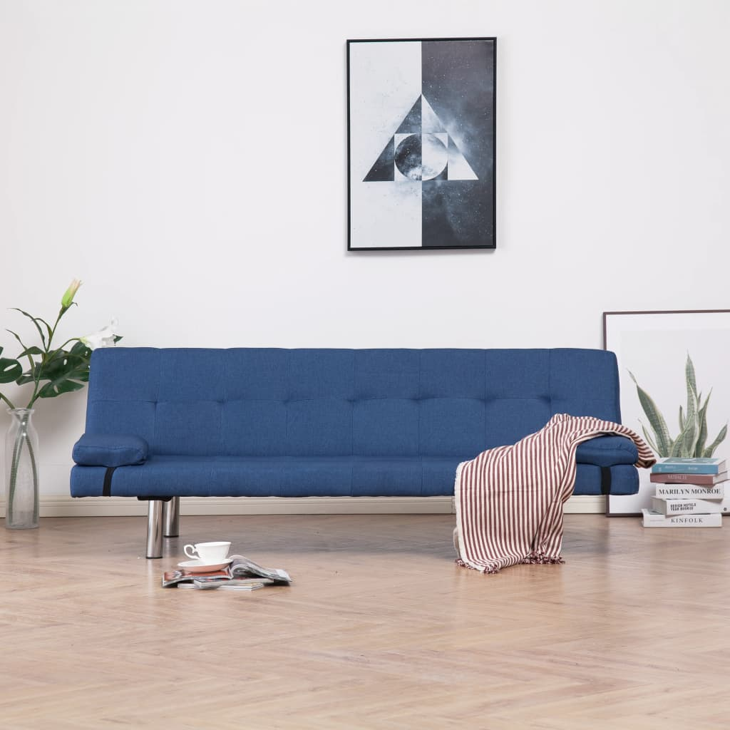vidaXL Rozkládací pohovka se 2 polštáři modrá polyester
