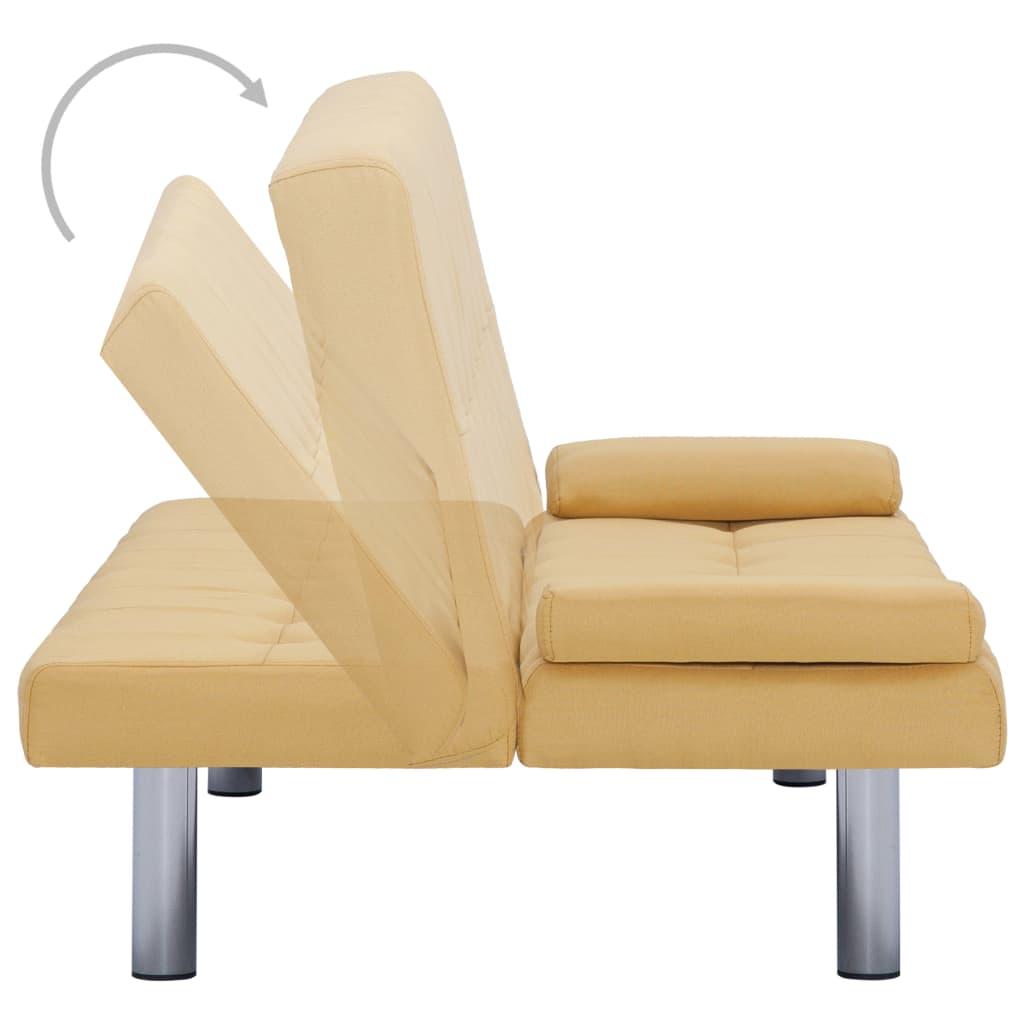 Slaapbank met twee kussens polyester geel