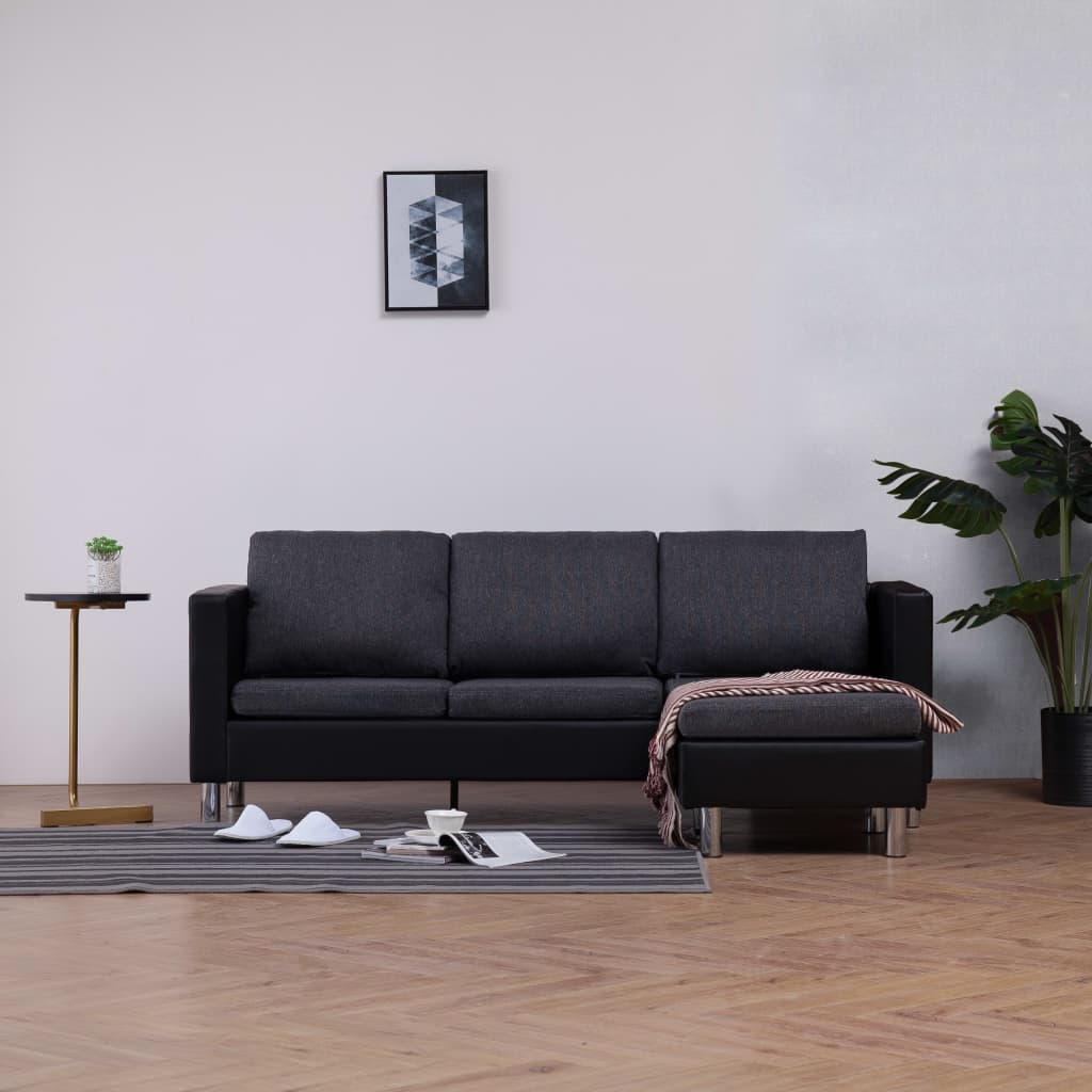 vidaXL 3-osobowa sofa z poduszkami, czarna, sztuczna skóra