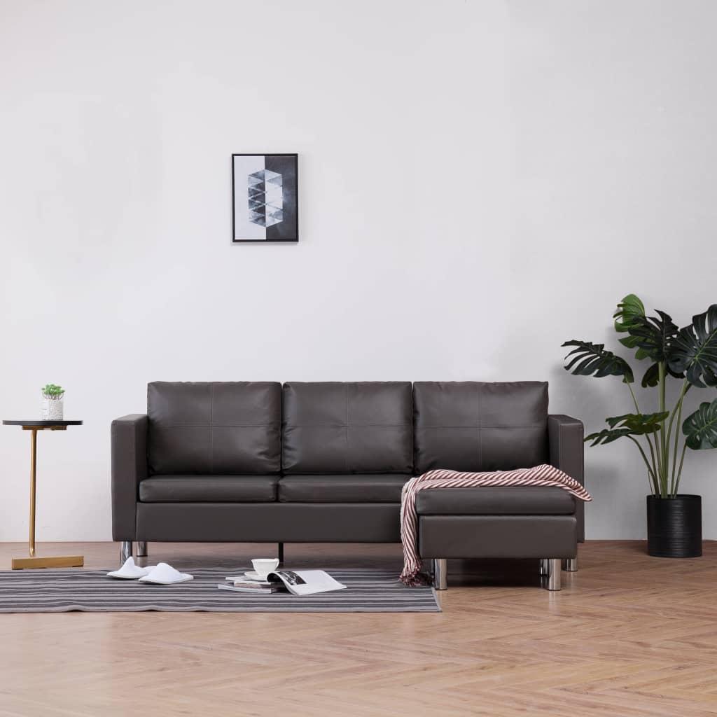 vidaXL 3-osobowa sofa z poduszkami, szara, sztuczna skóra