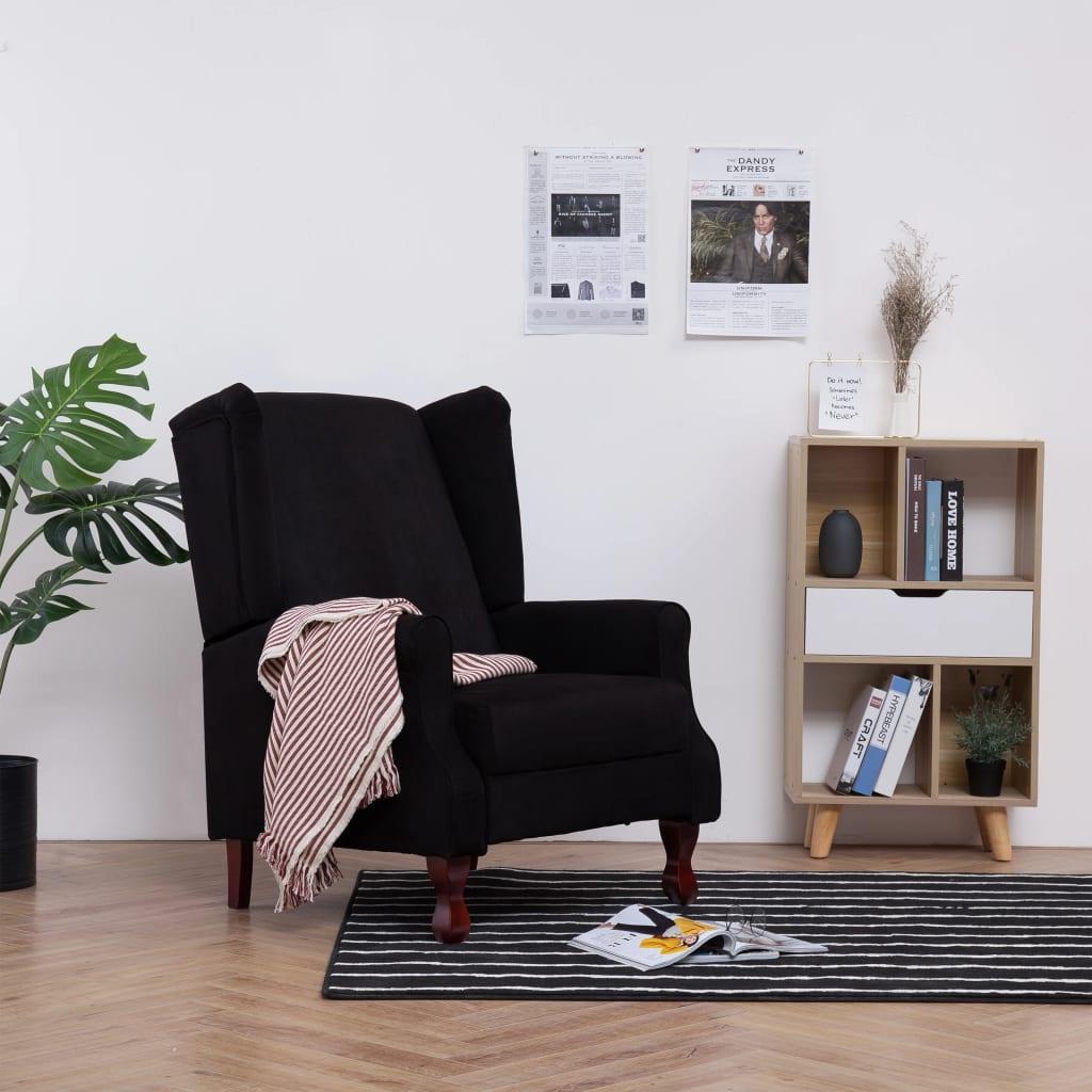 vidaXL Fotel rozkładany, czarny, tapicerowany tkaniną