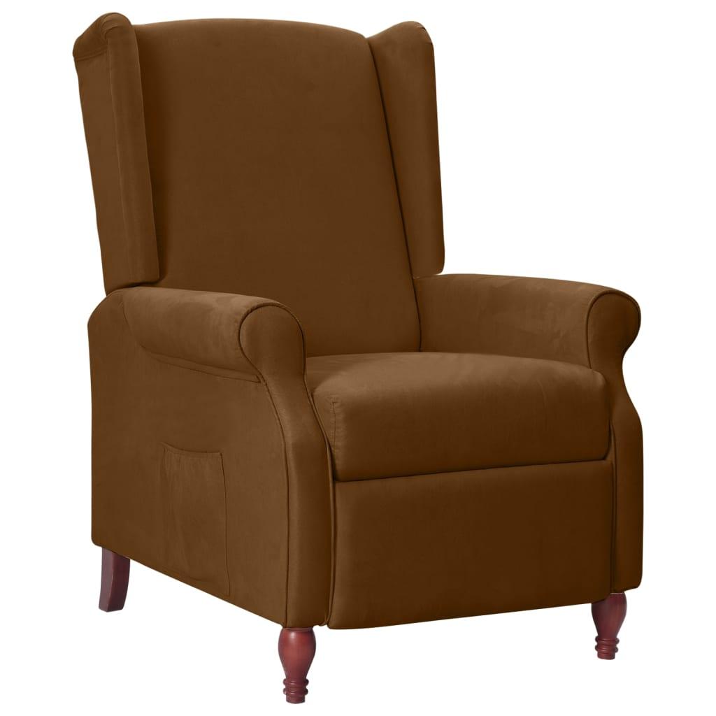 vidaXL Fotel rozkładany, brązowy, tapicerowany tkaniną