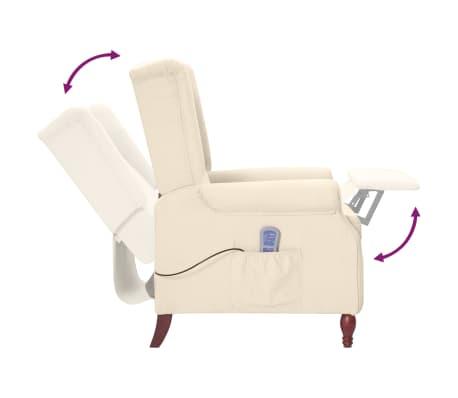 vidaXL Fauteuil inclinable de massage Crème Tissu