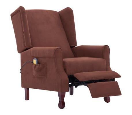 vidaXL Atlošiamas masažinis krėslas, rudos spalvos, audinys[4/13]