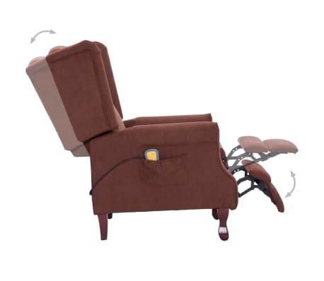 vidaXL Atlošiamas masažinis krėslas, rudos spalvos, audinys[6/13]