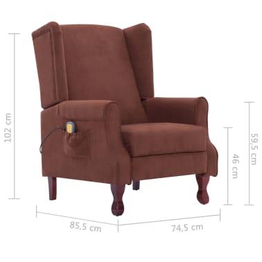 vidaXL Atlošiamas masažinis krėslas, rudos spalvos, audinys[13/13]