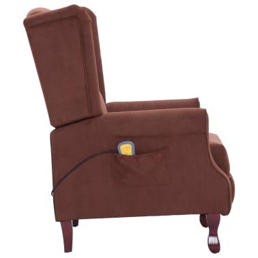 vidaXL Atlošiamas masažinis krėslas, rudos spalvos, audinys[5/13]