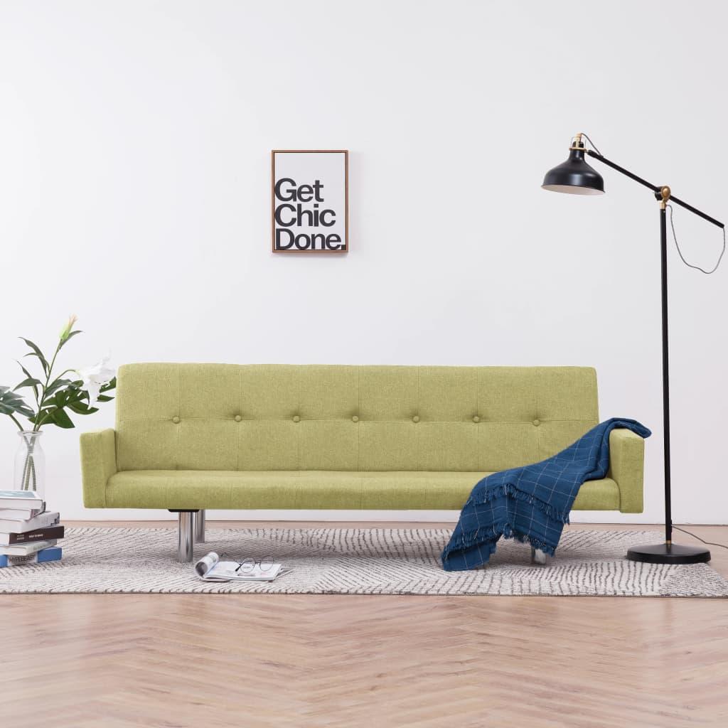 Rozkládací pohovka s područkami zelená polyester