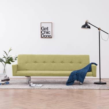 vidaXL Slaapbank met armleuning polyester groen[1/10]