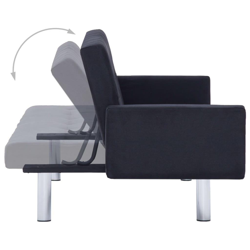 vidaXL Slaapbank met armleuning polyester zwart